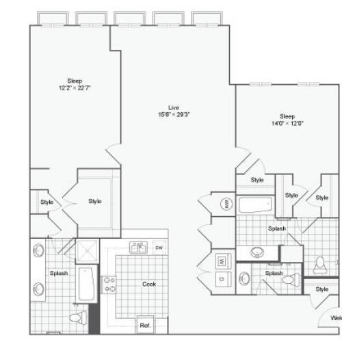 Floor Plan 115| Alamo Apartments San Antonio TX | Arrive Eilan