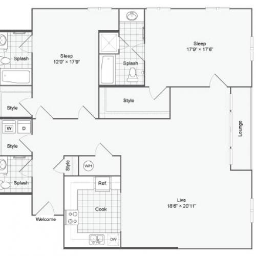 Floor Plan 116| Alamo Apartments San Antonio TX | Arrive Eilan