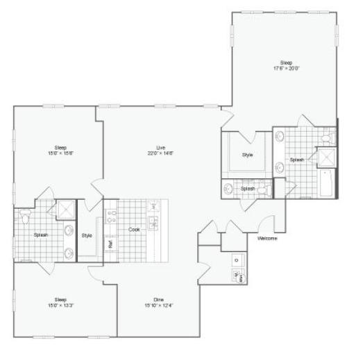 Floor Plan 117| Alamo Apartments San Antonio TX | Arrive Eilan