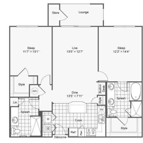 Floor Plan Image | Luxury Apartments In Brookhaven GA | TwentyNine24 Brookhaven