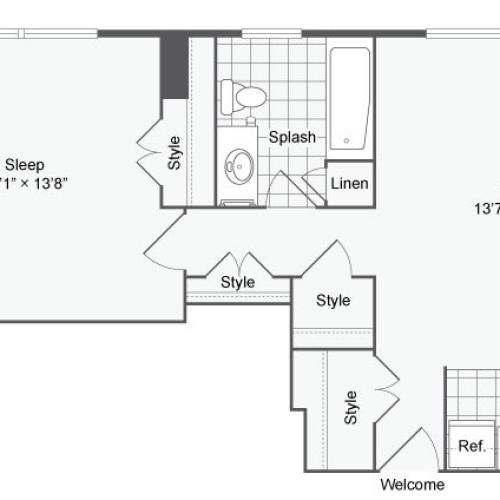 1 Bedroom Floor Plan | Apartments Near Johns Hopkins | The Social North Charles
