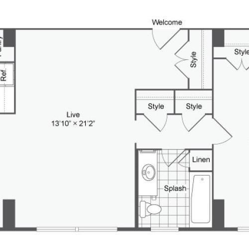 1 Bdrm Floor Plan | Apartments Near Johns Hopkins University | The Social North Charles