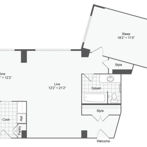 Floor Plan 2 | Apartments Near Johns Hopkins University | The Social North Charles