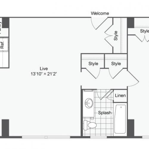Floor Plan 3 | Baltimore Apartments Near Johns Hopkins | The Social North Charles