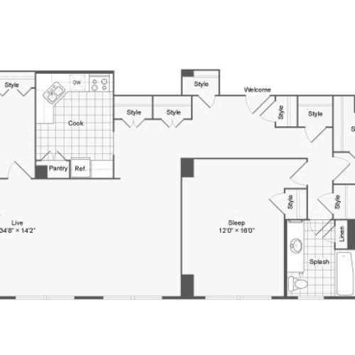 3 Bdrm Floor Plan | Apartments Near Johns Hopkins | The Social North Charles
