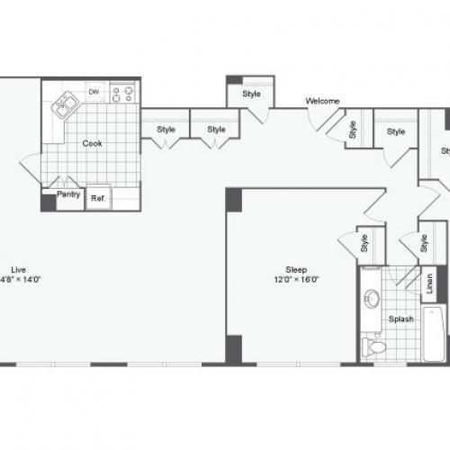 Floor Plan 5 | Johns Hopkins Apartments | The Social North Charles