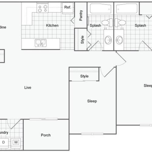 Serene at Northside Apartment Homes for Rent in Athens GA 30601 Floor Plan
