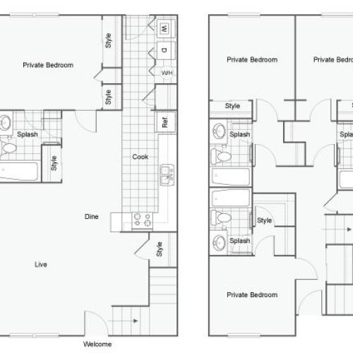 4 Bedroom Floor Plan | Luxury 1 Bedroom Tallahassee Apartments | The Venetian Student Living