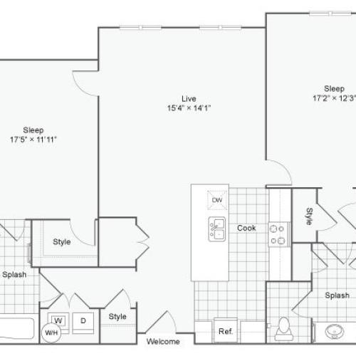 Floor Plan 78| Alamo Apartments San Antonio TX | Arrive Eilan