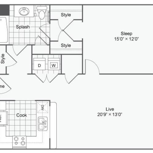 Floor Plan 118| Alamo Apartments San Antonio TX | Arrive Eilan