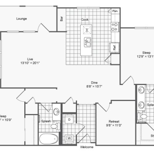 Floor Plan 24 | Apartments In Atlanta GA | The Mille Brookhaven Apartment Homes