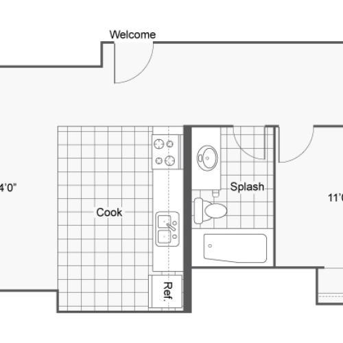 1 Bedroom Floor Plan | Apartments In Denver Colorado | Renew on Stout