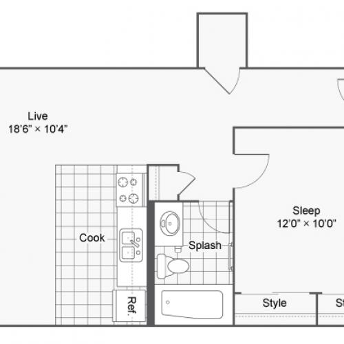 1 Bdrm Floor Plan | 2 Bedroom Apartments Denver | Renew on Stout