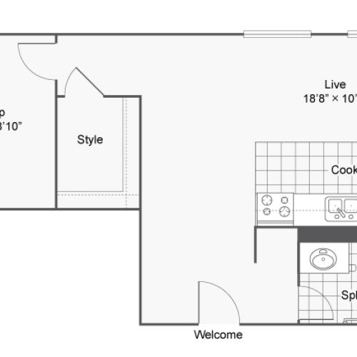 Floor Plan 2 | 2 Bedroom Apartments Denver | Renew on Stout
