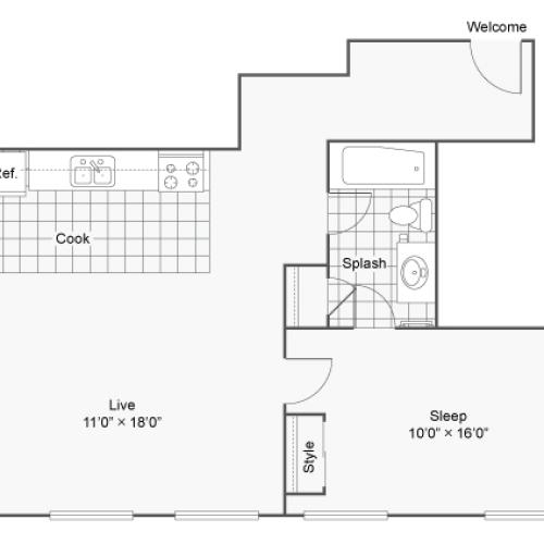 Floor Plan 8 | Denver Colorado Apartments | Renew on Stout