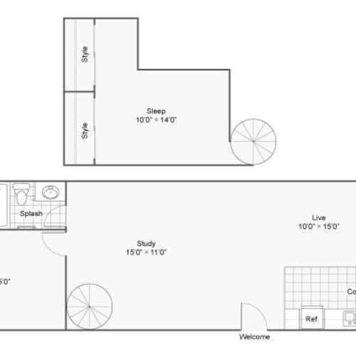 2 Bedroom Floor Plan | Denver Colorado Apartments | Renew on Stout