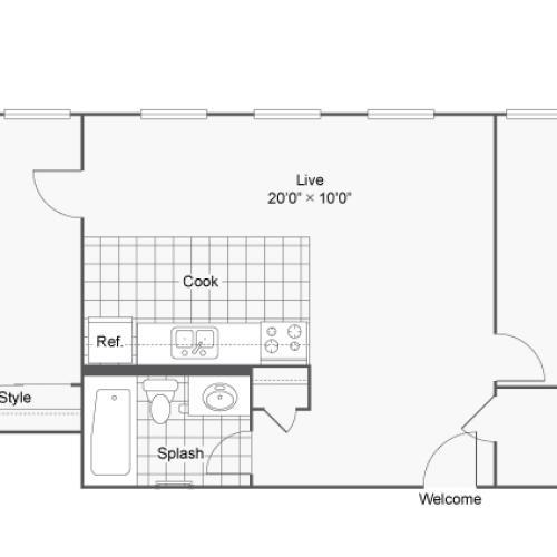 Floor Plan 17 | 2 Bedroom Apartments Denver | Renew on Stout
