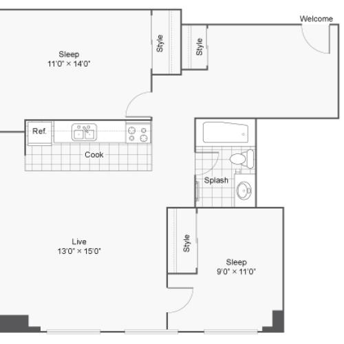 Floor Plan 18 | Denver Colorado Apartments | Renew on Stout