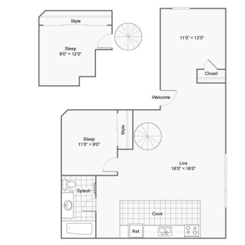 Floor Plan 23 | Denver Colorado Apartments | Renew on Stout