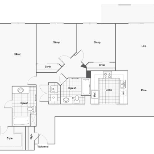 Floor Plan 17 | Two Bedroom Apartments San Diego | Arrive Mission Valley