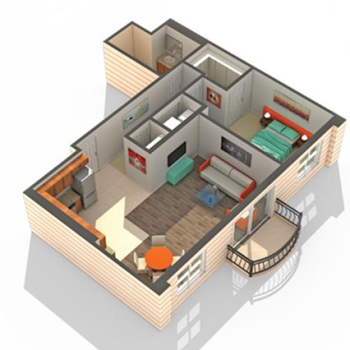 1 Bedroom Floor Plan   Apartments In Des Plaines   Renew Five Ninety Five