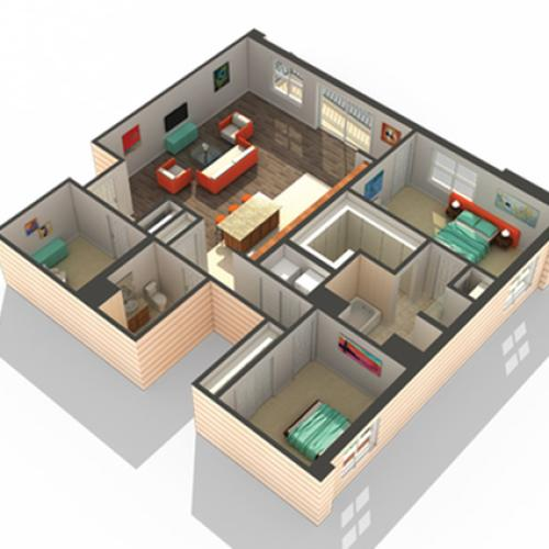 2 Bedroom Floor Plan   Apartments Des Plaines IL   Renew Five Ninety Five