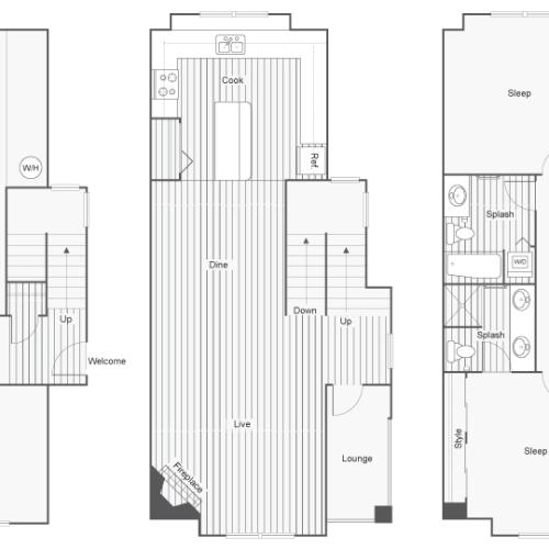 3 Bdrm Floor Plan | North Bend Apartments Washington | Arrive North Bend