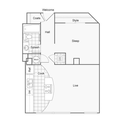 1 Bdrm Floor Plan | Studio Apartments Downtown Wichita KS | ReNew Wichita