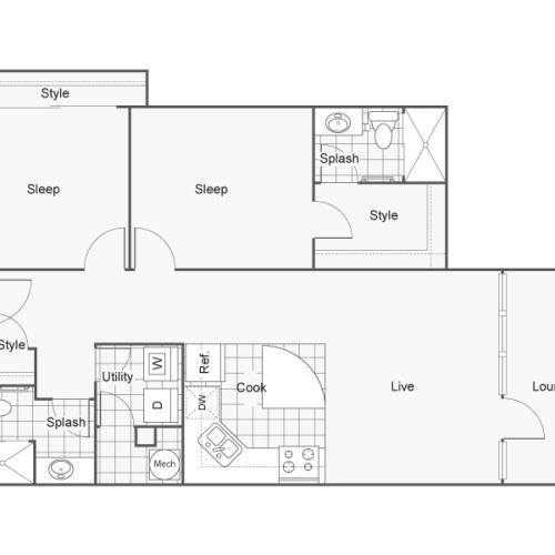 Floor Plan 43 | Wichita Kansas Apartments | ReNew Wichita