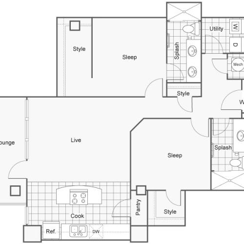 Floor Plan 47 | Studio Apartments Downtown Wichita KS | ReNew Wichita