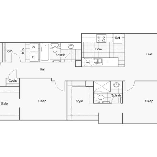 Floor Plan 49 | Wichita Kansas Apartments | ReNew Wichita
