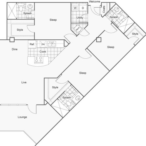 3 Bdrm Floor Plan | Apartments In Wichita KS | ReNew Wichita