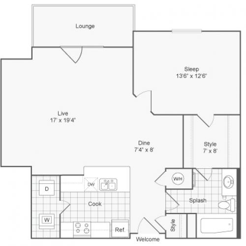1 Bedroom Floor Plan | Glenmoore PA Apartments | ReNew Glenmoore
