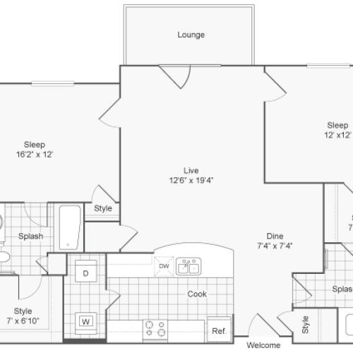 2 Bedroom Floor Plan | Apartments In Downingtown PA | ReNew Glenmoore