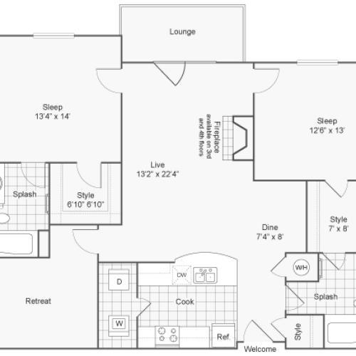 2 Bedroom Floor Plan | Apartments In Downingtown PA | ReNew Glenmoore
