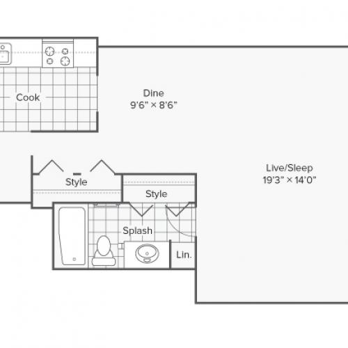 Studio Floor Plan | Apartments Wheaton IL | ReNew Wheaton Center
