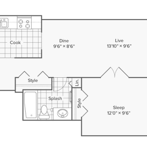 1 Bedroom Floor Plan | Apartments in Wheaton IL | ReNew Wheaton Center