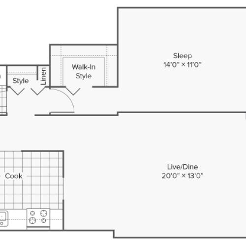 Floor Plan 2 | Apartments for Rent Wheaton IL | ReNew Wheaton Center