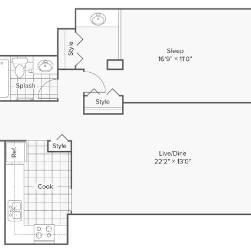 Floor Plan 5 | Apartments Near Wheaton IL | ReNew Wheaton Center