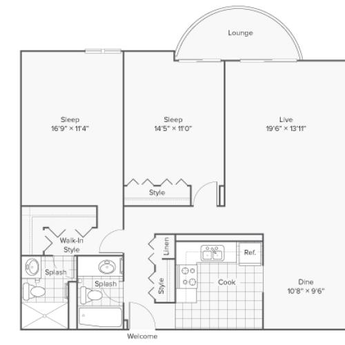 2 Bdrm Floor Plan | Wheaton IL Apartments | ReNew Wheaton Center