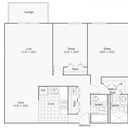 Floor Plan 9 | Wheaton IL Apartments | ReNew Wheaton Center