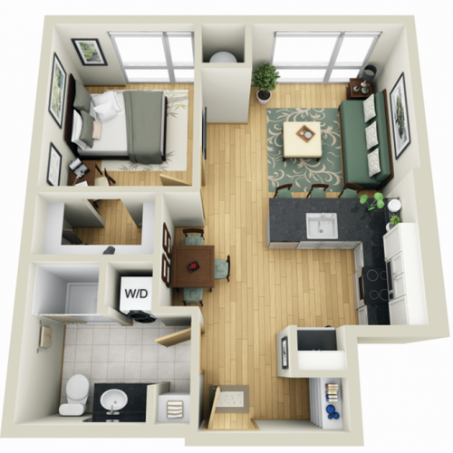 Floor Plan 5 | Minneapolis Apartments Near University Of Minnesota | Solhaus Apartments