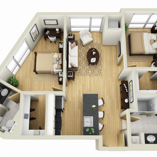 Floor Plan 24 | Minneapolis Apartments For Rent Near University Of Minnesota | Solhaus Apartments