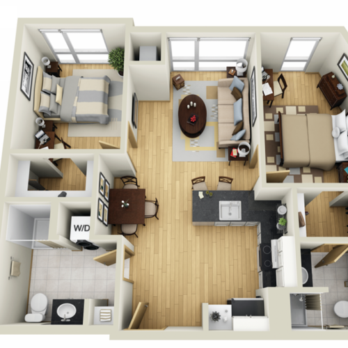 Floor Plan 23 | Student Apartments In Minneapolis | Solhaus Apartments