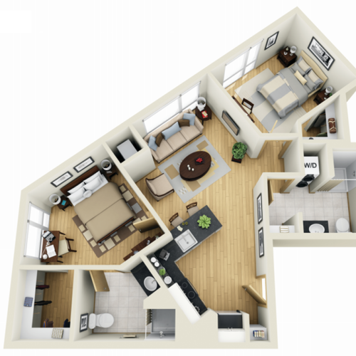 Floor Plan 22 | 1 Bedroom Apartments Minneapolis MN | Solhaus Apartments