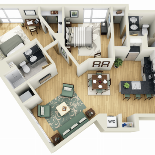 Floor Plan 21 | Luxury Apartments Minneapolis MN | Solhaus Apartments