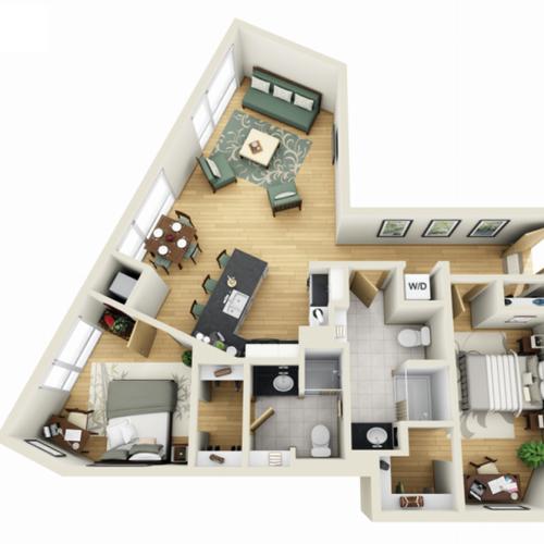 Floor Plan 18 | Student Apartments In Minneapolis | Solhaus Apartments