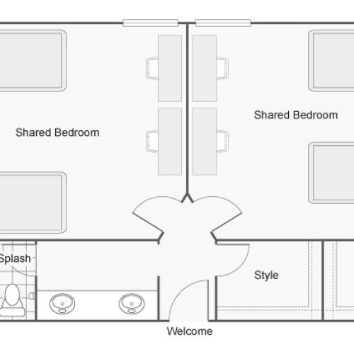2 Bdrm Floor Plan | CSU Chico Off Campus Housing | The Social Chico
