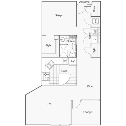 Floor Plan 42 | Studio Apartments Downtown Wichita KS | ReNew Wichita