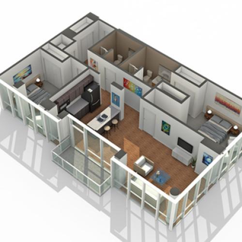 2 Bedroom Floor Plan | Apartments For Rent In South Loop Chicago | Arrive LEX